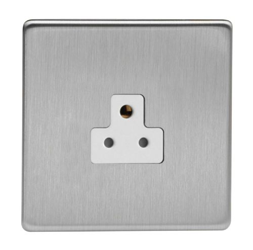 Varilight XDSRP2AWS Screwless Brushed Steel 1 Gang 2A Round Pin Plug Socket